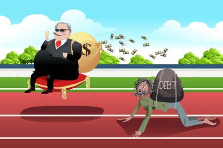 Una ilustración vectorial de Ricos y Pobres término de diferencia