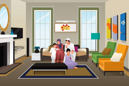 A vector illustration of Happy Muslim Family at Home Çizim