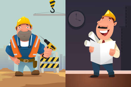 jobs people: A vector illustration of Construction Worker and Architect Cartoon