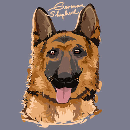 A vector illustration of German Shepherd Painting Poster