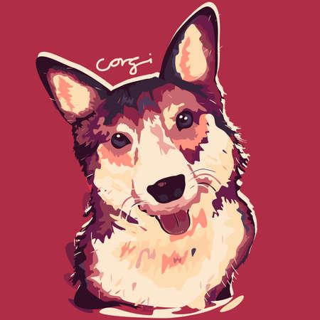 A vector illustration of Corgi Dog Painting Poster