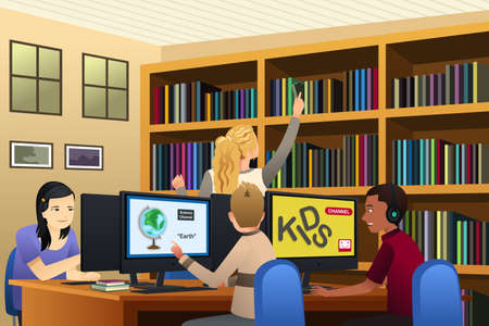 A vector illustration of School Kids Using Computers in the Library
