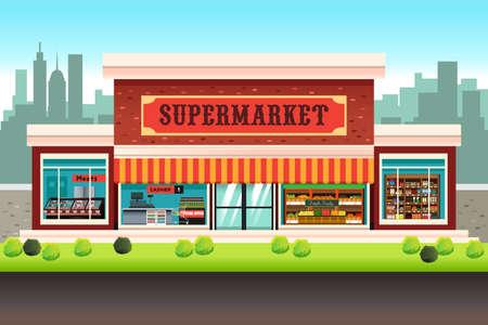 Una illustrazione vettoriale di un supermercato negozio di alimentari Vettoriali