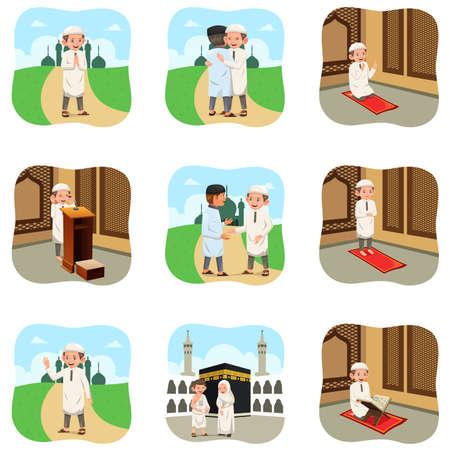 イスラム教徒の人々 の宗教活動を行うのベクトル イラスト