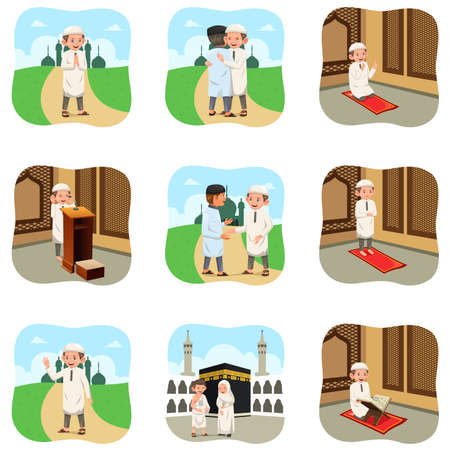 A vector illustration of Muslim People Doing Their Religious Activities