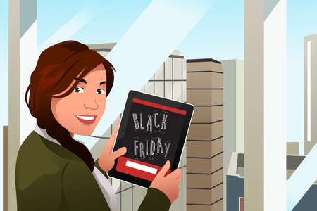 A vector illustration of a Beautiful Woman Looking at Tablet PC for Black Friday Shopping