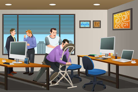 A vector illustration of Business People Receiving a Massage Therapy in the Office Ilustração