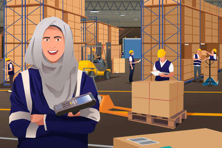 pretty smile: A vector illustration of a Muslim Woman Working in a Warehouse