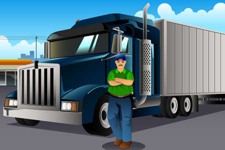 A vector illustration of Truck Driver Standing in Front of His Truck