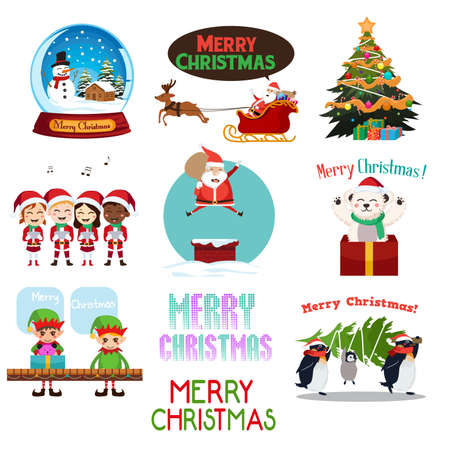 A vector illustration of Christmas Icons and Cliparts