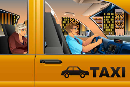 A vector illustration of a Taxi Driver Driving a Passenger