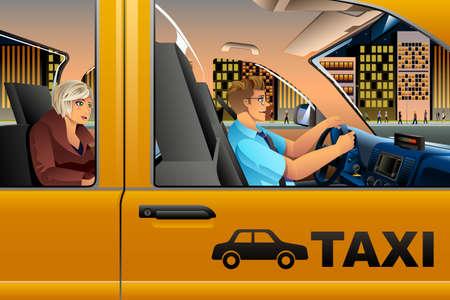 Een vector illustratie van een taxibestuurder die een Passagier