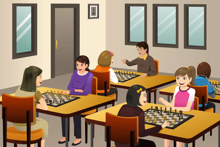 A vector illustration of Girls Playing Chess in a Chess Club