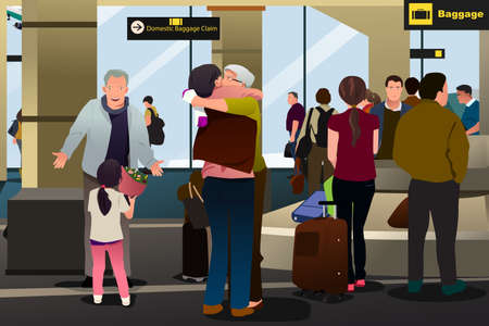A vector illustration of Family Meeting at the Airport Çizim