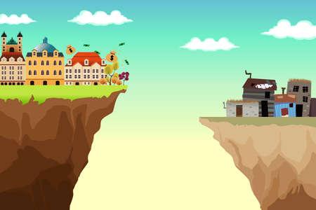 pobreza: Un vector conceptual Ilustración de la brecha entre ricos y pobres Vectores