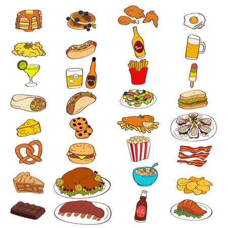 A vector illustration of Food and Drink Icons