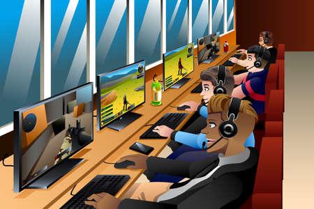 cafe internet: Una ilustración vectorial de los jóvenes que juega a juegos en un café Internet