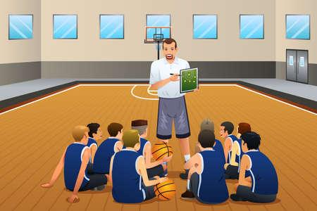 Una ilustración vectorial de entrenador de béisbol que habla con sus jugadores en la Corte