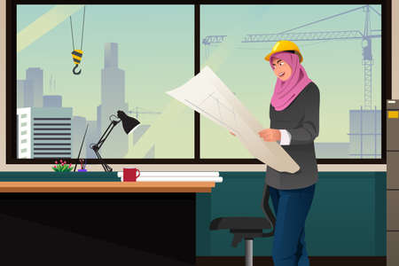 office construction: A vector illustration of Muslim Woman Working in a Construction Office Illustration