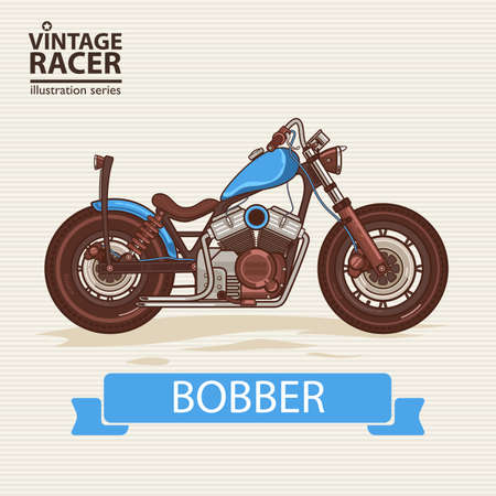 engine: A vector illustration of Vintage Racing Motorcycle Illustration