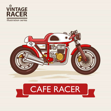 A vector illustration of Vintage Racing Motorcycle Illustration
