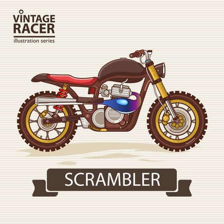 motor vehicle: A vector illustration of Vintage Racing Motorcycle Illustration