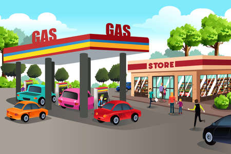 A vector illustration of People at Gas Station and Convenience Store Stock Vector - 70006450