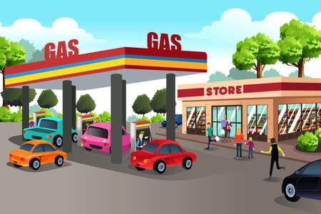 Ilustracja wektora osób na stacjach benzynowych i sklepu szybkości