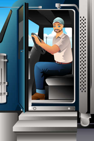 A vector illustration of Truck Driver Inside of His Truck