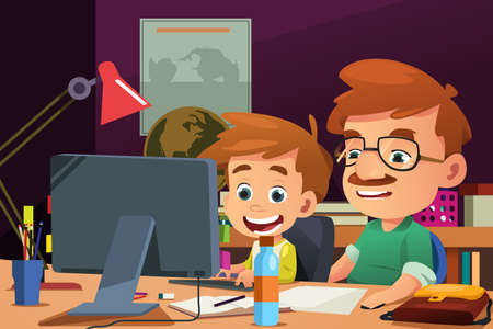 A vector illustration of Father and Son Working on a Computer