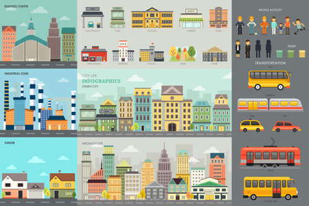 A vector illustration of City Life and Transportation Infographic Elements
