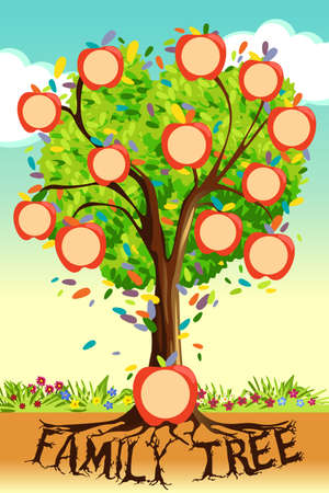A vector illustration of Family Tree Template Çizim