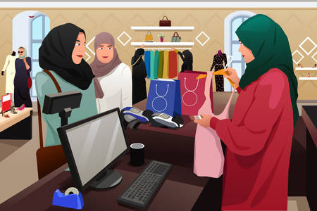 A vector illustration of Muslim Women Shopping in a Clothing Store