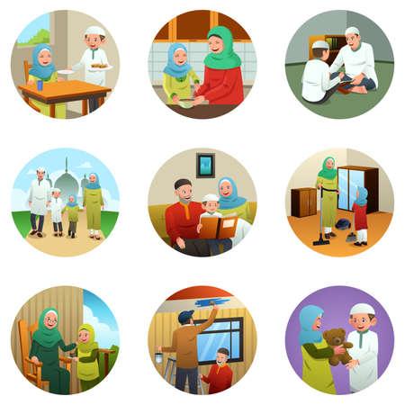 familia orando: Una ilustración vectorial de la Familia Musulmana haciendo diferentes actividades Vectores