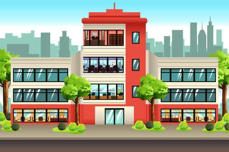 A vector illustration of Business Offices Building Ilustração