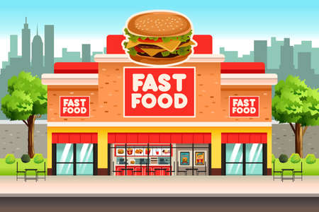 A vector illustration of Fast Food Restaurant