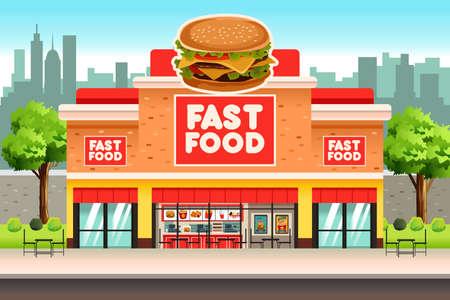 comida rapida: Una ilustración vectorial de restaurante de comida rápida