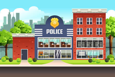 A vector illustration of Police Station  イラスト・ベクター素材