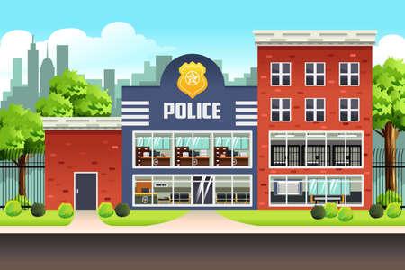 A vector illustration of Police Station Illustration