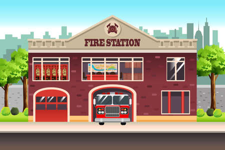 A vector illustration of Fire Station  イラスト・ベクター素材