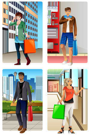 woman male: A vector illustration of People Going Shopping in a Mall