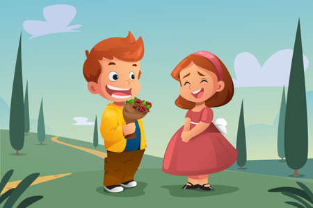 rose: A vector illustration of Boy Giving Flower to a Girl Illustration