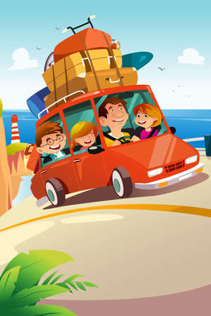 A vector illustration of Family Traveling on a Road Trip Ilustrace
