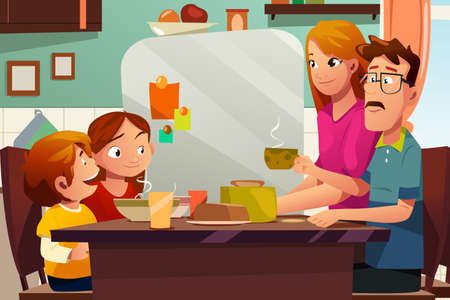 A vector illustration of Family Having Dinner Together on the Dining Table Illustration