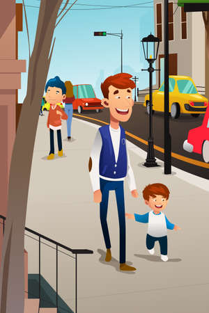 A vector illustration of Father and Son Walking on the Street Ilustração