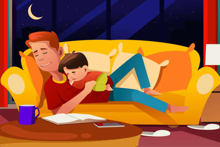 A vector illustration of Father and Son Sleeping on the Couch