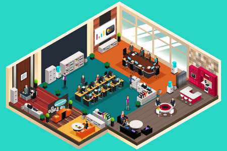 A vector illustration of Business People Working in the Office in Isometric Style