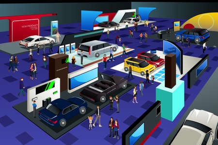 car show: A vector illustration of People Attending an Auto Show