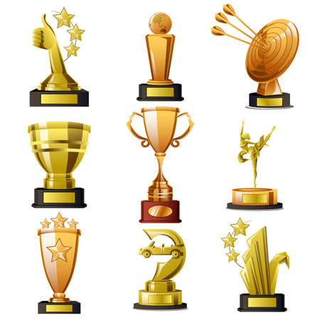 A vector illustration of Gold Winning Trophy Designs