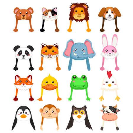 tigre cachorro: Una ilustración del vector del sombrero de la historieta de los animales Vectores